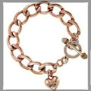 Rose gold charm link bracelet